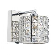 Agneta Single Wall Light in Polished Chrome with a Crystal Glass Shade, Switched - där AGN0750